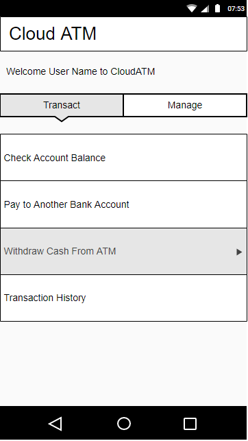 CloudATM Screen to Make a Transaction